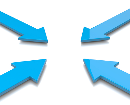 convergence: Four Blue Convergent Arrows 3D Illustration on White Background Stock Photo