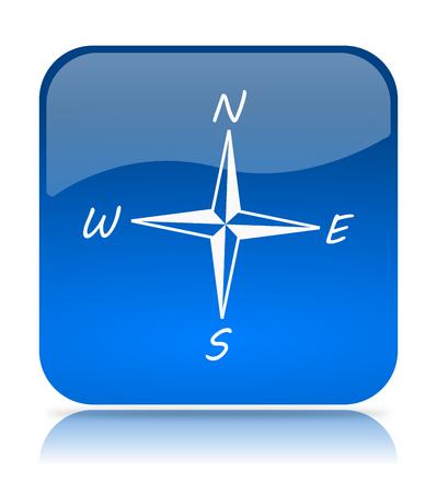 orientate: Blue Compass Icon Button on White Background