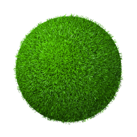 Ball of Green Grass Isolated on White Background 3D Illustration