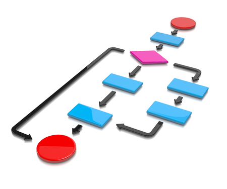 Kleurrijke stroomdiagram op een witte achtergrond 3D illustratie