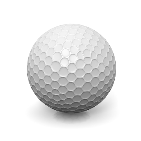 Golf Ball on White Background Sport Equipment 3D Illustration