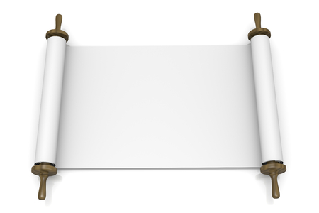 Open Blank Scroll on White Background 3D Illustration