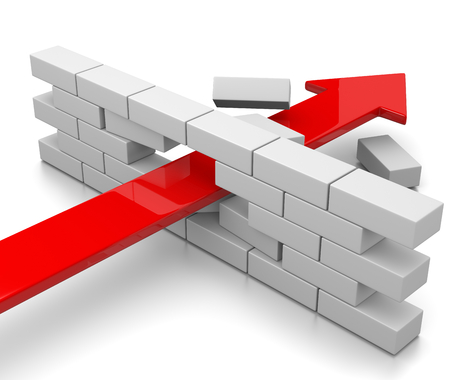 ladrillo: Red Arrow romper el muro en el fondo blanco Ilustraci�n 3D Foto de archivo