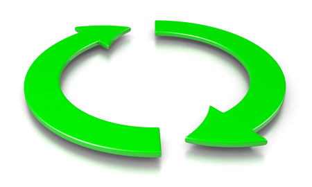 recycling symbols: Two Green Cyclic Arrows 3D Illustration on White Background