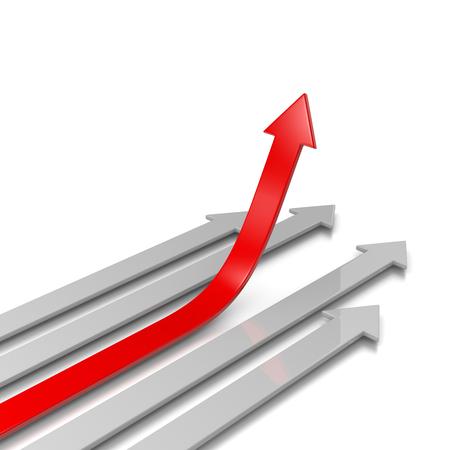 Vier grijze pijlen en een rode pijl Lift Off 3D illustratie op witte achtergrond, Concurrentie Concept