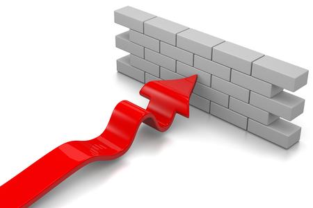 flecha: Flecha Roja detenido por una pared en el fondo blanco Ilustración 3D