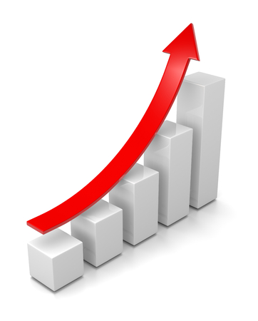 Growing Bar Chart with Rising Red Arrow 3D Illustration on White Background