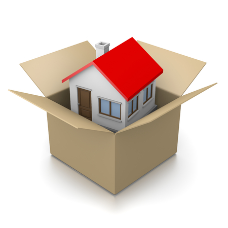 HOUSES: Open Cardboard Box with House Inside 3D Illustration on White Background, Moving Concept