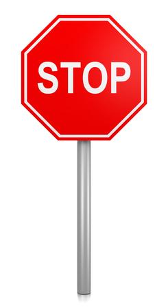 Aanmelden Classic Red Stop Road op een witte achtergrond 3D illustratie