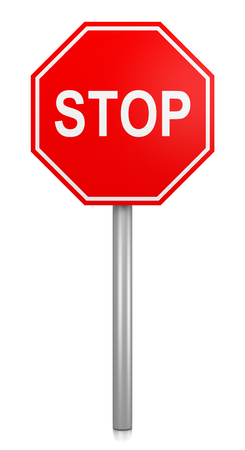 a sign: Classic Red Stop Road Sign on White Background 3D Illustration Stock Photo