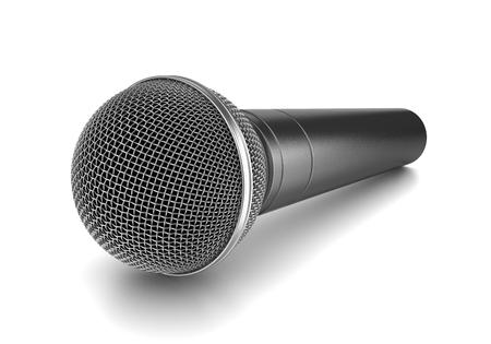 studio shot: Metallic Microphone on White Background 3D Illustration, Studio Shot Stock Photo