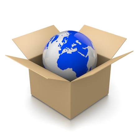 move: Open Cardboard Box with World Inside 3D Illustration on White Background, Shipment Concept