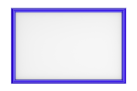 pictureframe: Blue Rectangular Plastic Picture Frame Isolated on White Background 3D Illustration Stock Photo