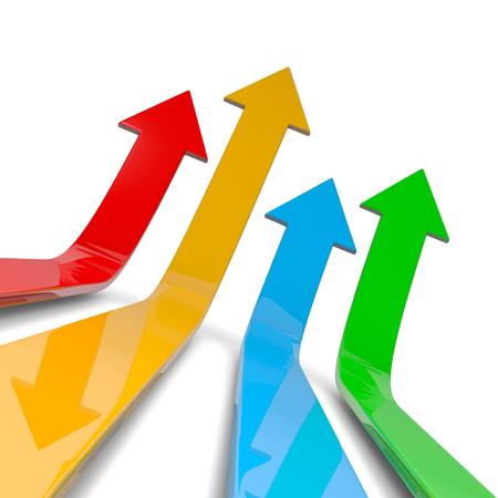 crecimiento: Cuatro flechas coloridas Lift Off Ilustración 3D sobre fondo blanco, el concepto de Competencia