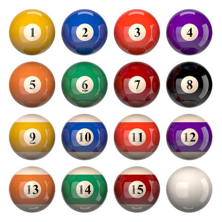 Pool Balls Set Isolated on White Background 3D Illustration