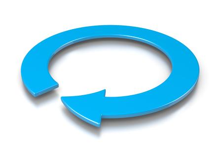 cíclico: Azul cíclica Flecha Ilustración 3D en el fondo blanco, concepto de protección