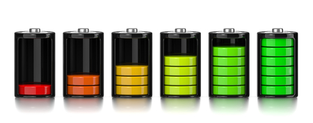 levels: Set of Electric Battery Charge Level Chart Isolated on White Background 3D Illustration Stock Photo