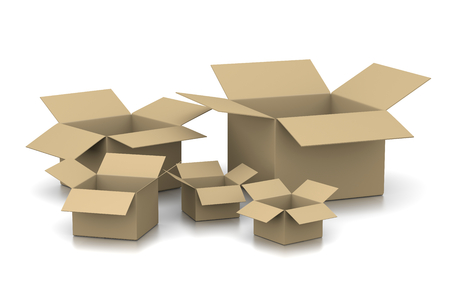 carton: Abrir cajas de cartón vacías en el fondo blanco Ilustración 3D Foto de archivo