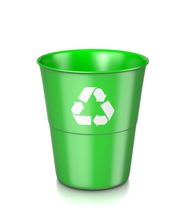 recycle sign: One Single Plastic Green Bin with Recycle Sign Isolated on White Background 3D Illustration Stock Photo