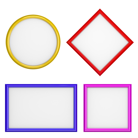 pictureframe: Picture Frames Different Shape Collection Isolated on White Background 3D Illustration