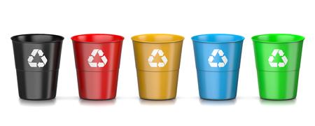 reciclar: Conjunto de la papelera de reciclaje plástico colorido con signo de reciclaje aisladas sobre fondo blanco Ilustración 3D
