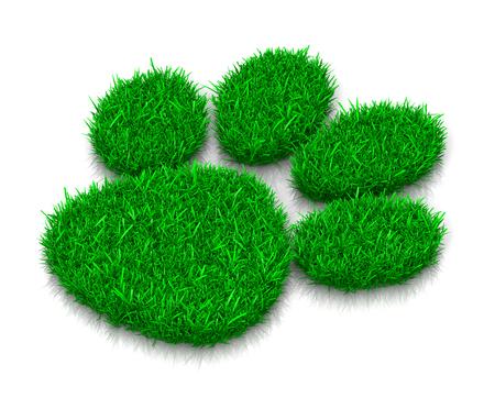 huellas de perro: Perro o gato hierba verde Huella en blanco Ilustración 3D de fondo
