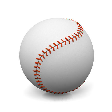 shadowed: Single Baseball Ball with Shadow on White Background 3D Illustration