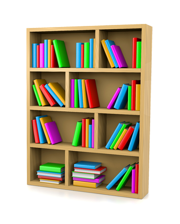 Wooden Bookshelf on White Background 3D Illustration
