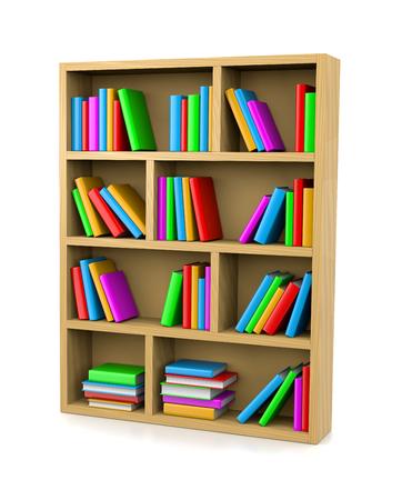 Wooden Bookshelf on White Background 3D Illustration