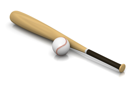 shadowed: Baseball Bat an Ball with Shadow on White Background 3D Illustration Stock Photo