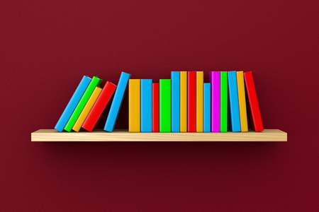 furnishings: Wooden Shelf with Colorful Books on Violet Wall Background 3D Illustration Stock Photo