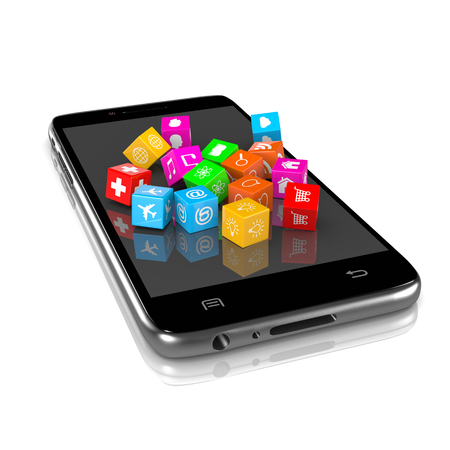 smartphone apps: Smartphone with Cubic Icon Apps on Display on White Background 3D Illustration Stock Photo