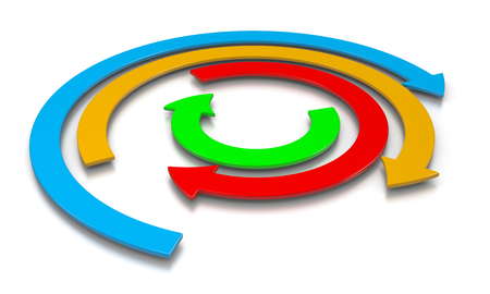 concentric: Concentric Colorful Arrows on White Background 3D Illustration