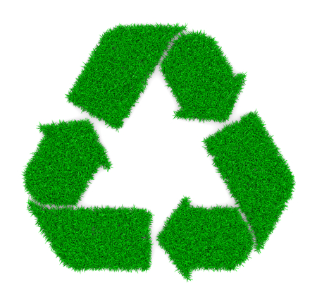 reciclar: Grass Recycle Sign Shape on White Background 3D Illustration