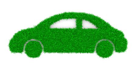 silhouette voiture: Forme Herbe Voiture verte sur fond blanc Illustration 3D Banque d'images