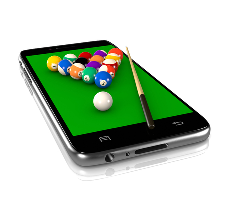 billiards table: Billiards Table with Balls and Cue on Smartphone Display 3D Illustration on White Background, Sport and Game App Stock Photo