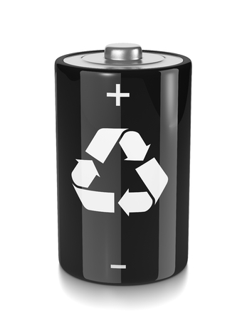 recycling symbols: One Single Black Electric Battery with Recycle Sign on White Background 3D Illustration