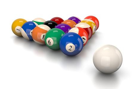smash: Pool Balls Smash on White Background 3D Illustration