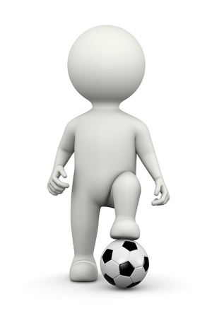 player: One Single Football Player White Character Running with Ball 3D Illustration on White Background