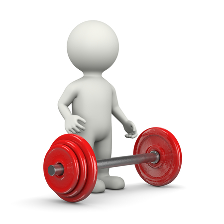 bar one: One Single Weightlifting White Character Standing with Weight Lifting Bar 3D Illustration on White Background