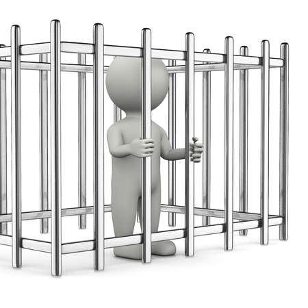 barred: One Single White Character Standing in a Metal Cage 3D Illustration on White Background
