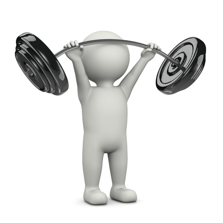 front raise: One Single Weightlifting White Character Standing Lifting Weight Bar 3D Illustration on White Background