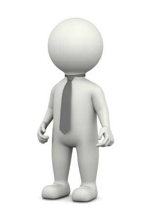 upright: Businessman, Standing White Character Wearing a Grey Tie 3D Illustration on White Background