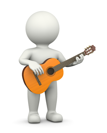 marioneta de madera: Guitarrista, De pie Carácter blanco jugando clásica guitarra ilustración 3D en el fondo blanco