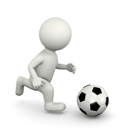 player: One Single Soccer Player White Character Running with Ball 3D Illustration on White Background Stock Photo
