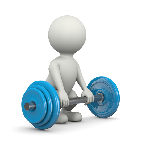 bar one: One Single Weightlifting White Character Lifting Weight Bar 3D Illustration on White Background