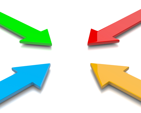 flechas: Cuatro colorido Ilustraci�n convergentes Flechas 3D en el fondo blanco Foto de archivo