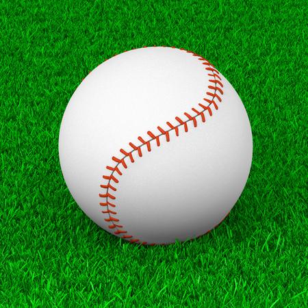 sport equipment: Baseball Ball on Grass Sport Equipment 3D Illustration Stock Photo