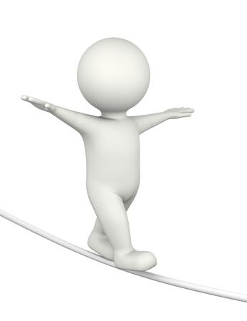 tightrope walker: Tightrope Walker White Character 3D Illustration on White Background