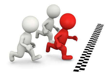 competencia: 3D Blanco Runners Personajes y Red One Ganar la Ilustración Race pie en el fondo blanco Foto de archivo